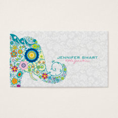 Colorful Retro Floral Elephant & White Damasks Business Card at Zazzle