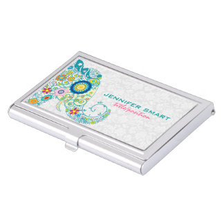 Colorful Retro Floral Elephant & White Damasks Business Card Case
