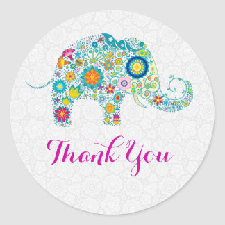 Colorful Retro Floral Elephant & White Damasks Classic Round Sticker