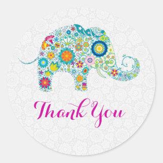 Colorful Retro Floral Elephant & White Damasks Classic Round Sticker