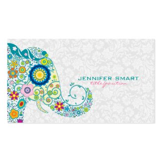 Colorful Retro Floral Elephant & White Damasks Double-Sided Standard Business Cards (Pack Of 100)