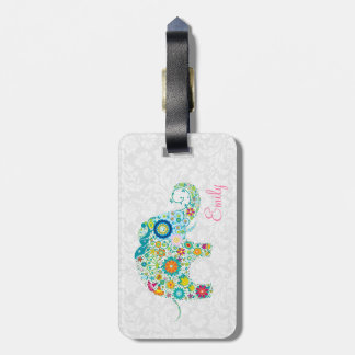 Colorful Retro Floral Elephant White Damasks Luggage Tag