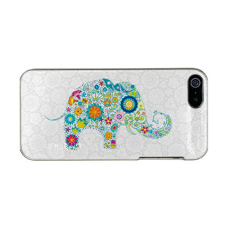 Colorful Retro Floral Elephant White Damasks Metallic iPhone SE/5/5s Case