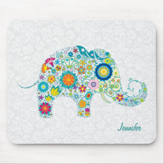 Colorful Retro Floral Elephant & White Damasks Mouse Pad