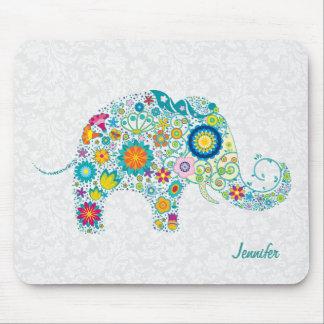 Colorful Retro Floral Elephant & White Damasks Mouse Pad