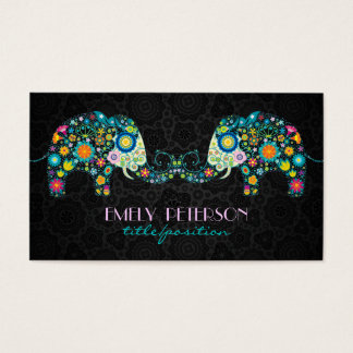 Colorful Retro Floral Elephants & Black Damasks Business Card