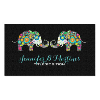 Colorful Retro Floral Elephants & Black Damasks Double-Sided Standard Business Cards (Pack Of 100)