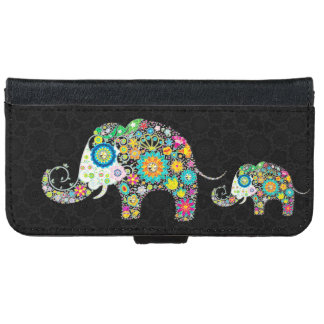 Colorful Retro Floral Elephants Wallet Phone Case For iPhone 6/6s
