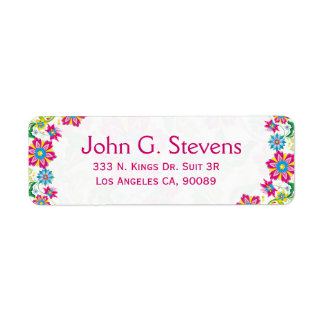 Colorful Retro Floral Frame Label