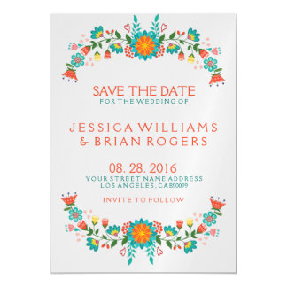 Colorful Retro Floral Frame Save the Date Magnetic Card