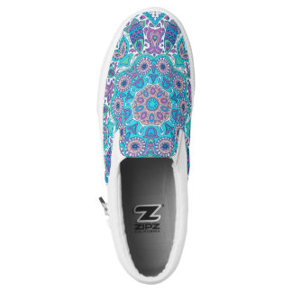 Colorful Retro Floral Lace Geometric Ornament Slip-On Sneakers