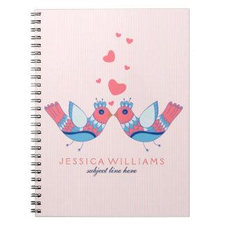 Colorful Retro Floral Love Birds Notebook