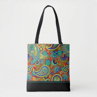 Colorful Retro Floral Paisley Pattern Tote Bag