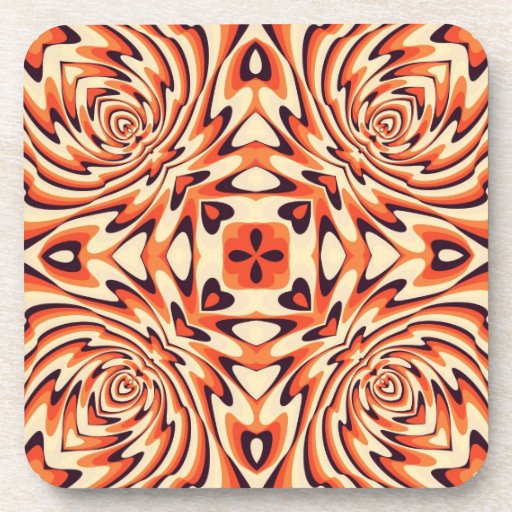 Colorful Retro Floral Seamless Coaster