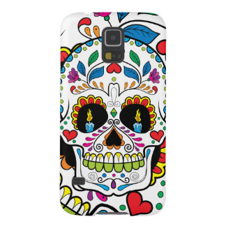 Colorful Retro Floral Sugar Skull Burning Candles Case For Galaxy S5