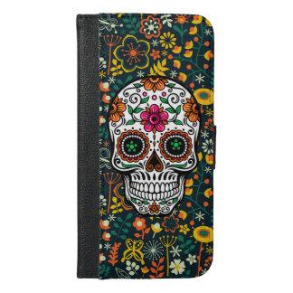 Colorful Retro Floral Sugar Skull iPhone 6/6s Plus Wallet Case