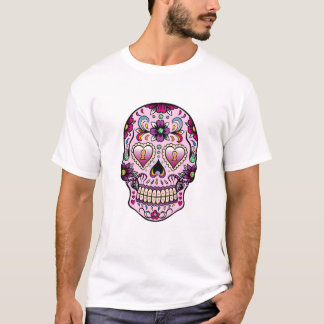 Colorful Retro Floral Sugar Skull Pink Tint T-Shirt