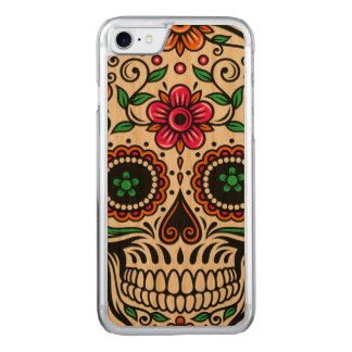 Colorful Retro Floral Sugar Skull Red Rose Carved iPhone 7 Case