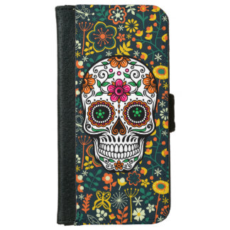 Colorful Retro Floral Sugar Skull Wallet Phone Case For iPhone 6/6s
