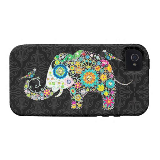Colorful Retro Flower Elephant & Birds Case For The iPhone 4
