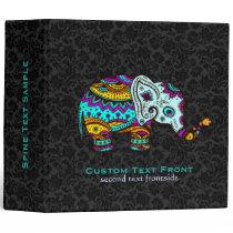 Colorful Retro Flower Elephant Black Background Binder
