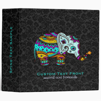 Colorful Retro Flower Elephant Black Background Binder