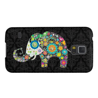 Colorful Retro Flower Elephant Design Cases For Galaxy S5