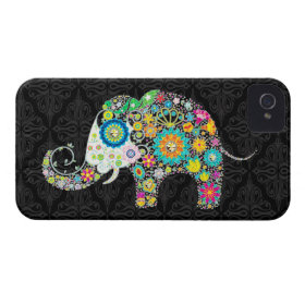 Colorful Retro Flower Elephant Design iPhone 4 Case-Mate Case