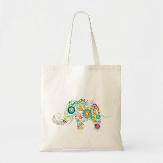Colorful Retro Flower Elephant Tote Bag