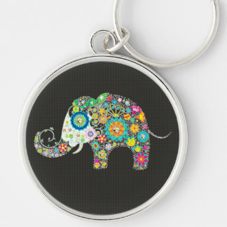 Colorful Retro Flower Elephant With Diamond Studs Silver-Colored Round Keychain
