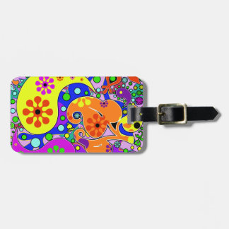 Colorful Retro Flower Paisley Psychedelic Bag Tag
