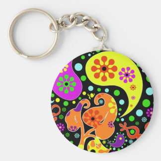 Colorful Retro Flower Paisley Psychedelic Keychain