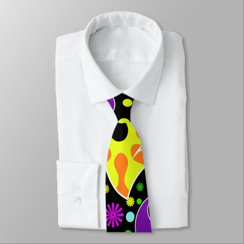 Colorful Retro Flower Paisley Psychedelic Necktie