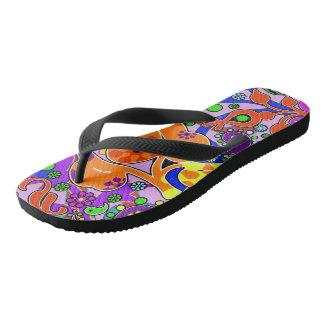 Colorful Retro Flower Paisley Psychedelic Shoes Flip Flops