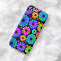 Colorful Retro Flower Patterns on Black Background Barely There iPhone 6 Case