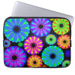 Colorful Retro Flower Patterns on Black Background Computer Sleeves