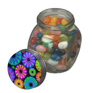 Colorful Retro Flower Patterns on Black Background Glass Candy Jar