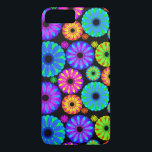 "Colorful Retro Flower Patterns on Black Background iPhone 8 Plus/7 Plus Case<br><div class=""desc"">Colorful Retro Flower Pattern on Black Background. A unique,  fun,  multi-colored retro floral pattern featuring bright colors including blues,  purples,  magentas,  oranges,  reds and yellows set against a black background. The perfect gift for her,  the trendy girl who loves colorful retro flower designs.</div>"