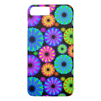 Colorful Retro Flower Patterns on Black Background iPhone 8 Plus/7 Plus Case