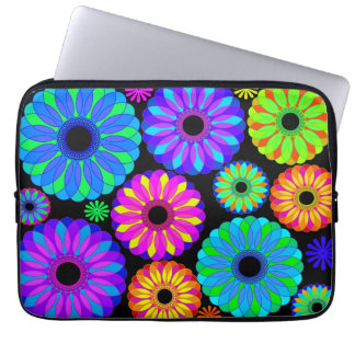 Colorful Retro Flower Patterns on Black Background Laptop Sleeve