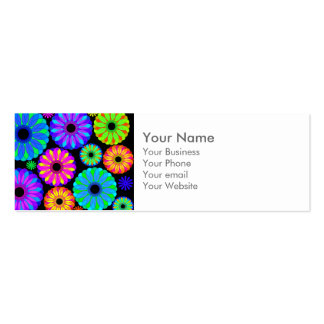 Colorful Retro Flower Patterns on Black Background Mini Business Card