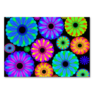 Colorful Retro Flower Patterns on Black Background Table Card