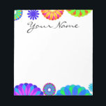 "Colorful Retro Flower Patterns on White Background Notepad<br><div class=""desc"">Colorful Retro Flower Pattern on White Background. A unique,  fun,  multi-colored retro floral pattern featuring bright colors including blues,  purples,  magentas,  oranges,  reds and yellows set against a white background. The perfect gift for her,  the trendy girl who loves colorful retro flower designs.</div>"