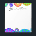 """Colorful Retro Flower Patterns on White Background Notepad<br><div class=""""desc"""">Colorful Retro Flower Pattern on White Background. A unique,  fun,  multi-colored retro floral pattern featuring bright colors including blues,  purples,  magentas,  oranges,  reds and yellows set against a white background. The perfect gift for her,  the trendy girl who loves colorful retro flower designs.</div>"""