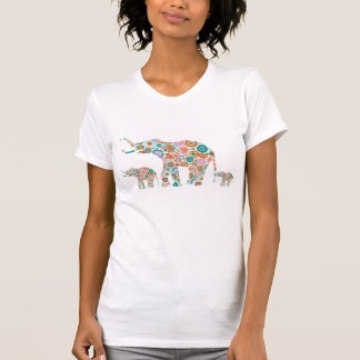 Colorful Retro Flowers 4 Elephant Family Shirt