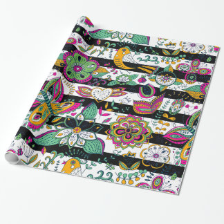 Colorful Retro Flowers & Butterflies With Stripes Wrapping Paper