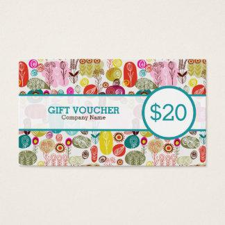 Colorful Retro Flowers Custom Voucher Business Card