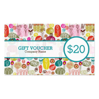 Colorful Retro Flowers Custom Voucher Double-Sided Standard Business Cards (Pack Of 100)