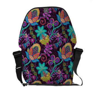 Colorful Retro Flowers Design-Glass-Beads Look Courier Bags