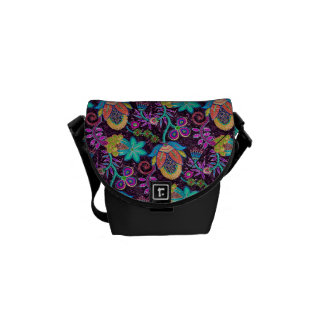 Colorful Retro Flowers Design-Glass-Beads Look Courier Bag